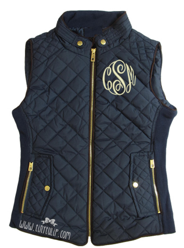 Monogrammed Navy Quilted Vest www.tinytulip.com Cream with Master Script Monogram