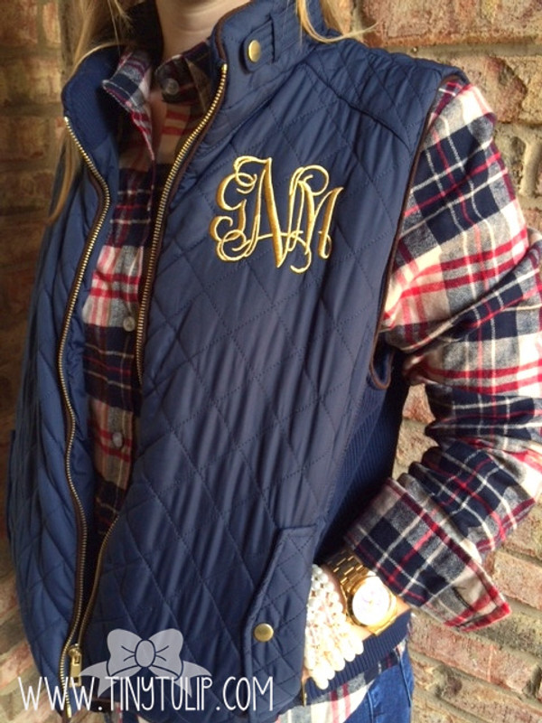 Monogrammed Navy Quilted Vest www.tinytulip.com Gold interlocking Monogram