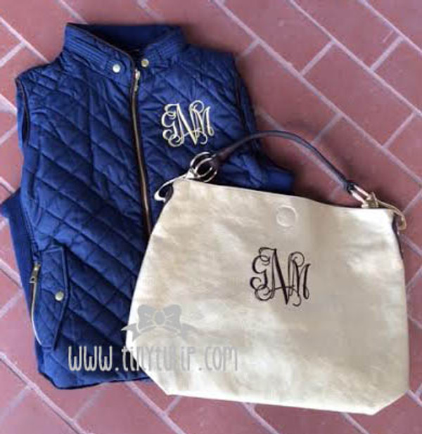 Monogrammed Navy Quilted Vest