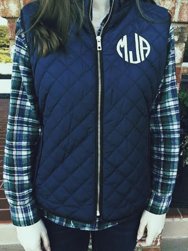 Monogrammed Navy Quilted Vest www.tinytulip.com Gold Circle Font
