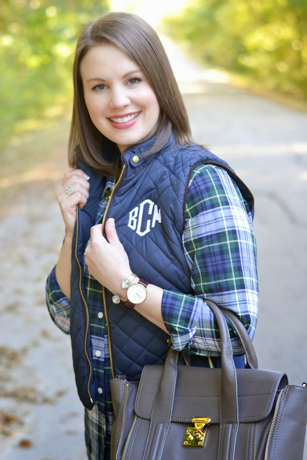 Monogrammed Navy Quilted Vest www.tinytulip.com White with Diamond Monogram