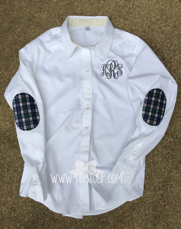 Monogrammed Oxford with Plaid Elbow Patches www,tinytulip.com Charcoal Gray Emma Font