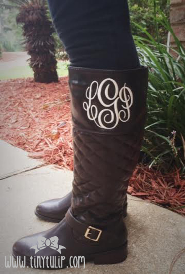 Monogrammed Quilted Riding Boot Size 6 www.tinytulip.com Cream Master Script