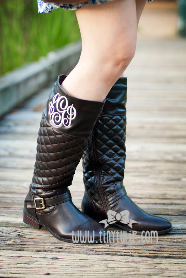 Monogrammed Quilted Riding Boot Size 6 www.tinytulip.com