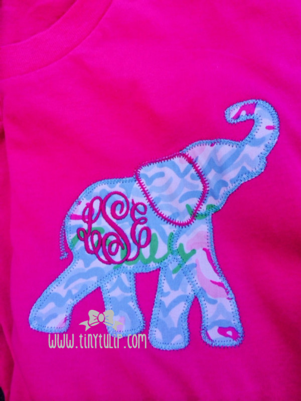 Monogrammed Lilly Pulitzer Elephant Applique Tshirt www.tinytulip.com Turquoise Thread with Hot Pink Monogram on Lobstah Roll