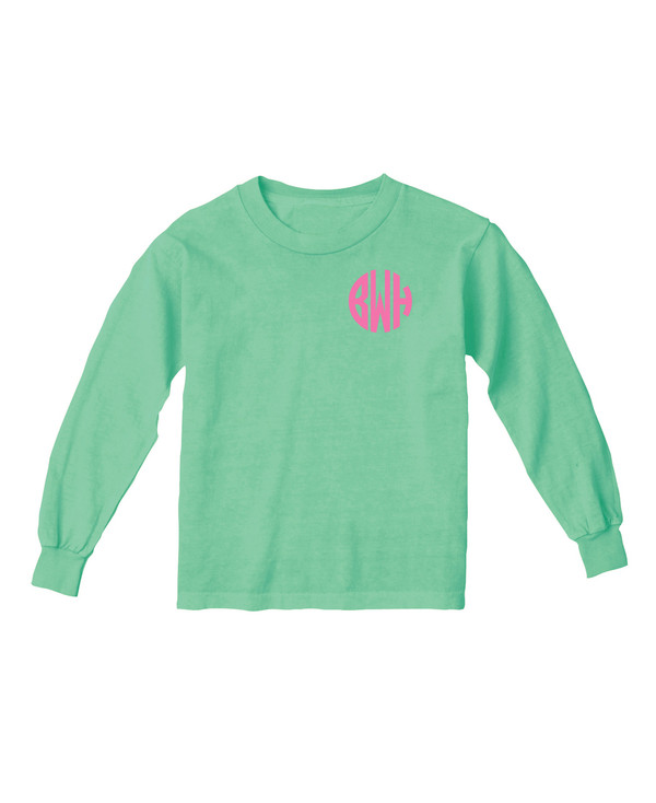 Monogrammed Island Reef Youth Long Sleeve Tshirt  www.tinytulip.com Preppy Pink Circle Font