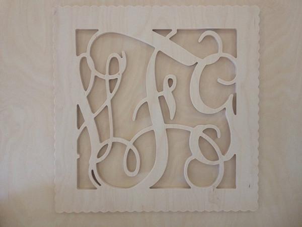 Bordered Wooden Interlocking Monogram Wall Decor www.tinytulip.com Scalloped Square Border