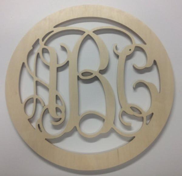Lilly Pulitzer Inspired Bordered Wooden Interlocking Monogram  www.tinytulip.com Circle Border