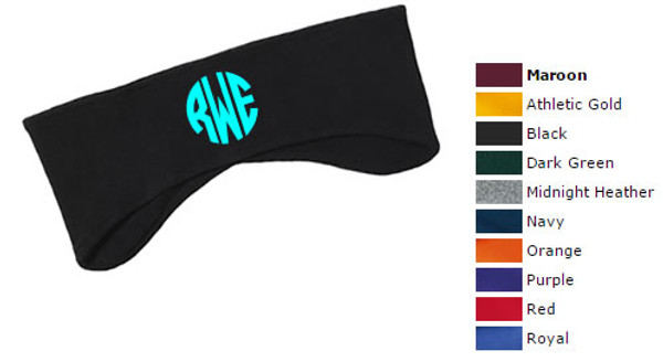 Monogrammed Fleece Headband  www.tinytulip.com Black Headband with Mint Circle Font