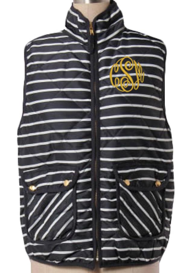 Monogrammed Quilted Navy Stripe Vest  www.tinytulip.com Gold Master Script Font