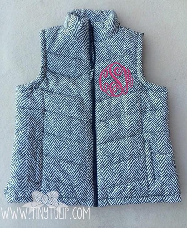 Monogrammed Quilted Herringbone Vest Plus Size  www.tinytulip.com Hot Pink Master Script Font