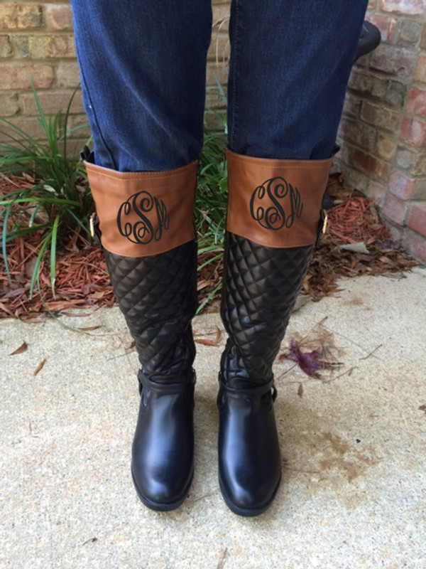 Monogrammed Robin Quilted Two Tone Riding Boots  www.tinytuliip.com Black Master Script Font Front Monogram