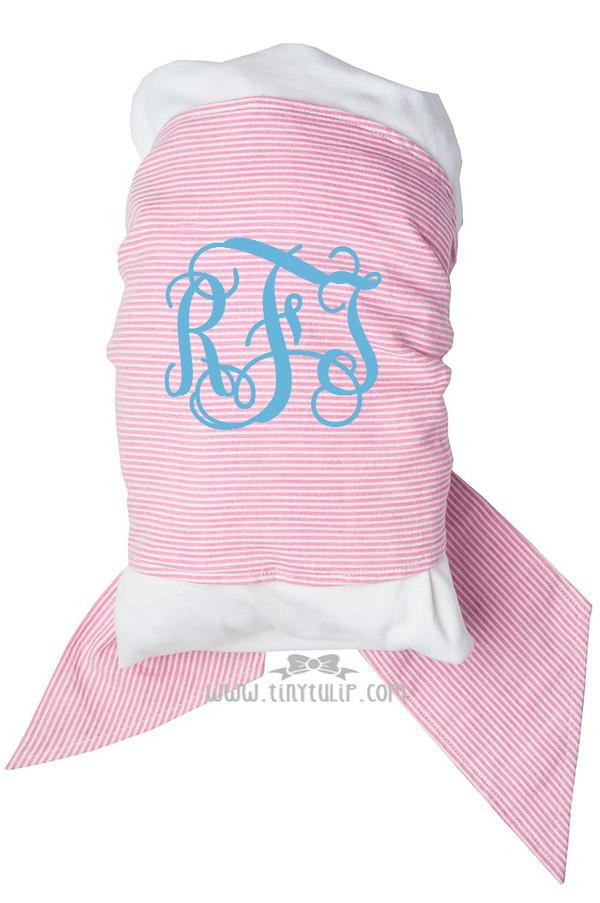 Monogrammed Seersucker Swaddle Blankets www.tinytulip.com