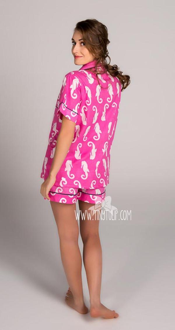 Seahorse Monogrammed Pajama Short Set