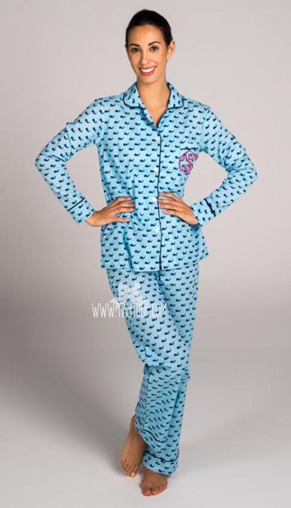 Womens Monogrammed Blue Whales Long Pajama Set www.tinytulip.com Hot Pink Master Script