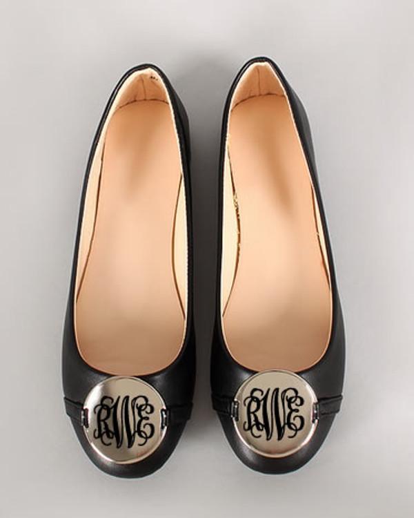 Monogrammed Ballet Flats www.tinytulip.com Black Interlocking
