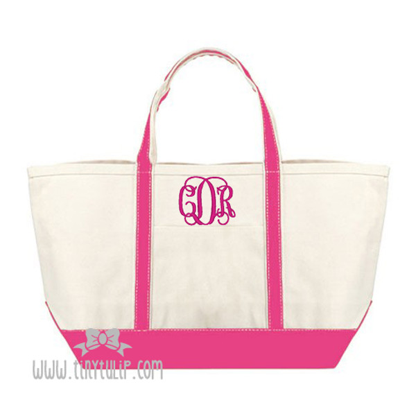 Monogrammed Canvas Pink Large Boat Tote www.tinytulip.com Hot Pink Interlocking