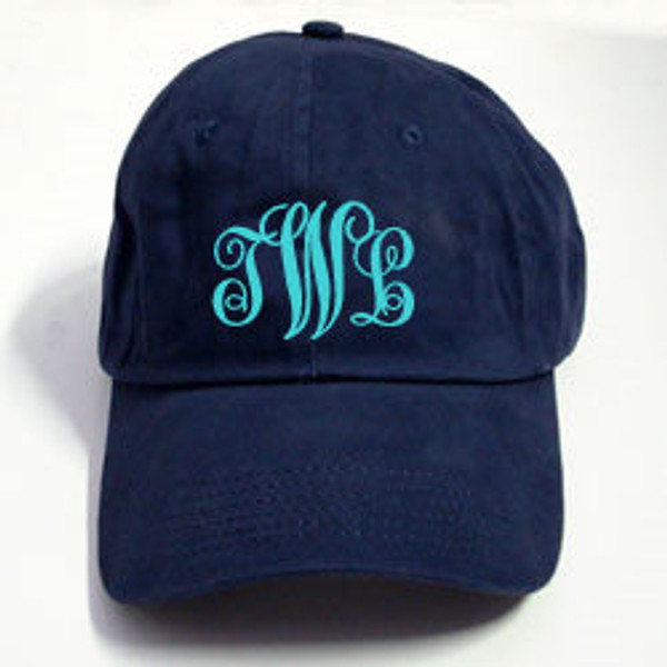 Navy Baseball Hat with Turquoise Emma Font