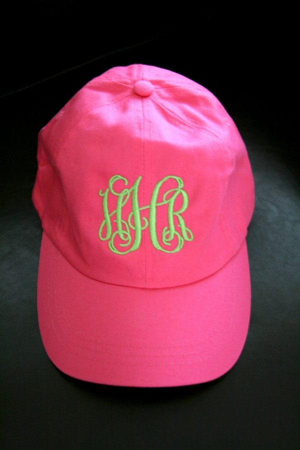 Monogrammed Baseball Hat   www.tinytulip.com Hot Pink Hat with Lime Green Interlocking Font