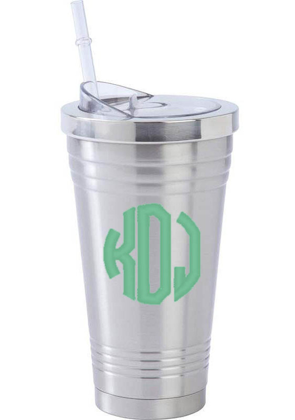 Monogrammed Stainless Steel Tumbler With Straw