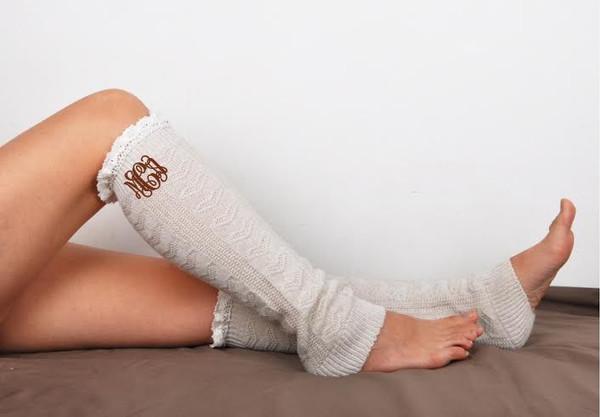 Monogrammed Leg Warmer Boot Socks