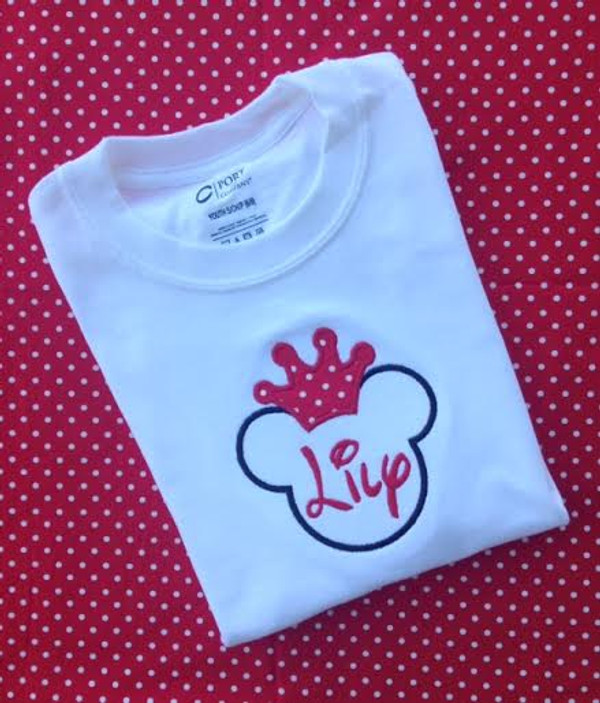 Monogrammed Minnie Mouse Crown Tshirt www.tinytulip.com Black Mouse with Red Letters