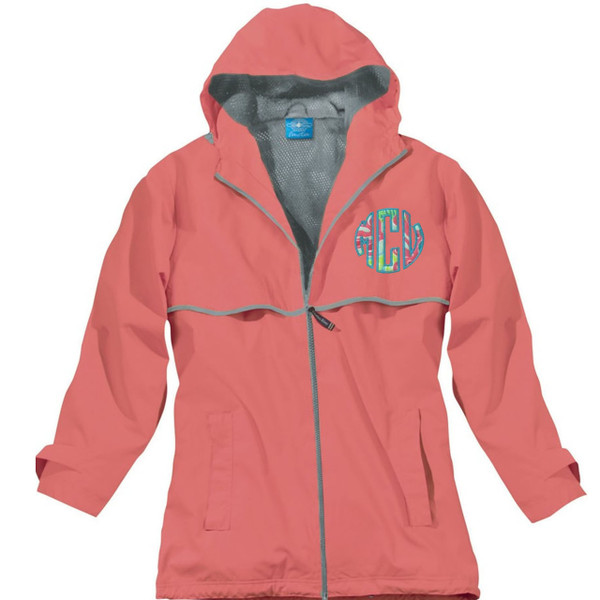 Lilly Pulitzer Monogrammed Raincoat www.tinytulip.com Coral Raincoat with Checking In Blue Fabric and Turquoise Thread