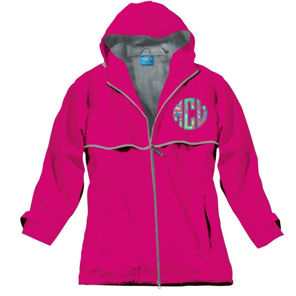 Lilly Pulitzer Monogrammed Raincoat www.tinytulip.com Hot Pink Raincoat with Checking In Blue Fabric and Turquoise Thread