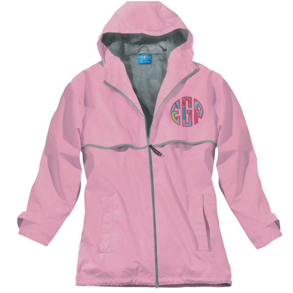 Lilly Pulitzer Monogrammed Raincoat www.tinytulip.com Pink Raincoat with Checking In Blue Fabric and Hot Pink Thread