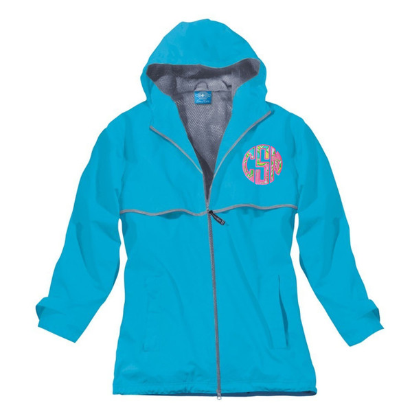 Lilly Pulitzer Monogrammed Raincoat www.tinytulip.com Wave Blue Raincoat with Chin Chin Fabric and Preppy Pink Thread