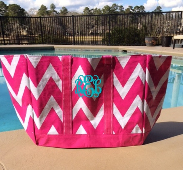 Hot Pink Chevron Reusable Eco Friendly Monogrammed Beach Bag  www.tinytulip.com Teal Interlocking Font