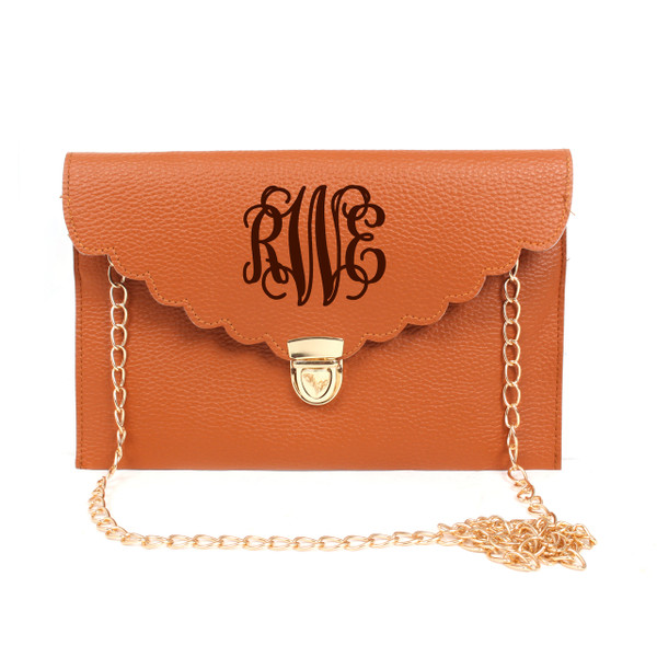 Monogrammed Scallop Envelope Latch Clutch Cross Body Purse  www.tinytulip.com Brown with Dark Chocolate Brown Interlocking Font