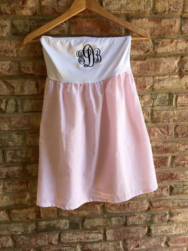 Monogrammed Pink Strapless Seersucker Swim Cover Up Dress www.tinytulip.com Navy Emma Font