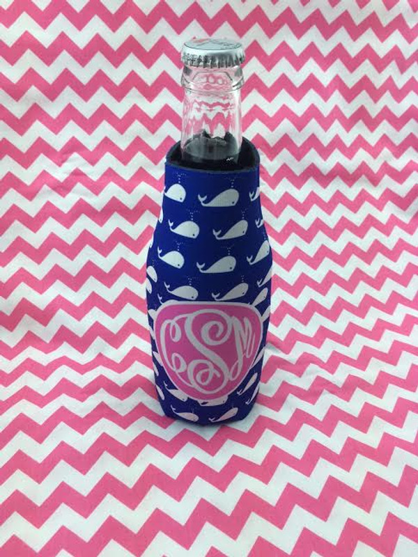 Patterned Print Beer Koozie www.tinytulip.com Navy Whales Pattern with Solid Circle White Master Script Font