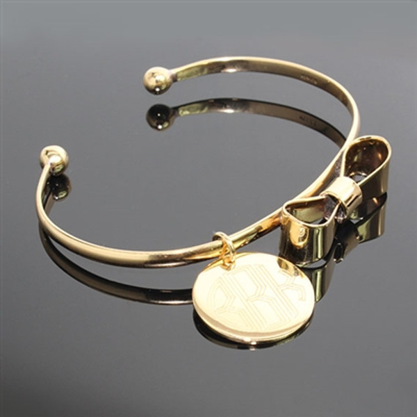Monogrammed Bow Charm Bracelet www.tinytulip.com Gold Bracelet with Circle Font