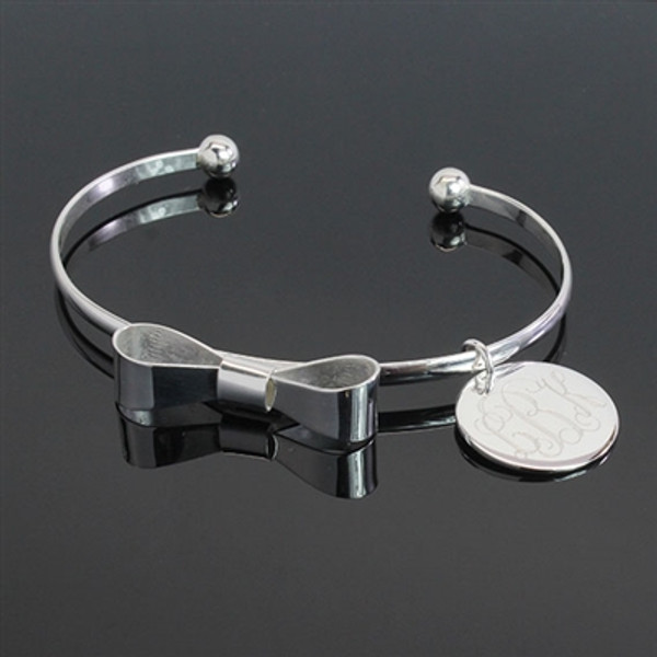 Monogrammed Bow Charm Bracelet www.tinytulip.com Silver Bracelet with Interlocking Font