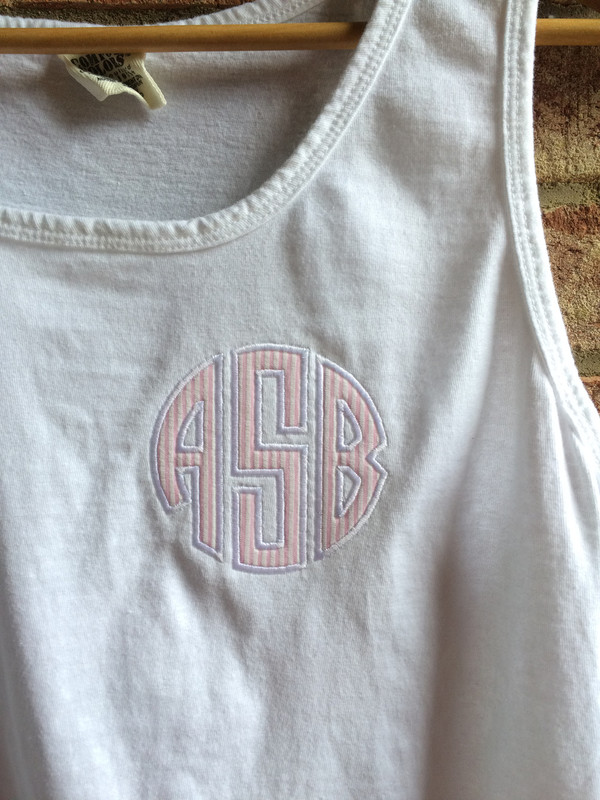 Monogrammed Seersucker Applique Bro Tank www.tinytulip.com White Tank with Pink Seersucker and White thread
