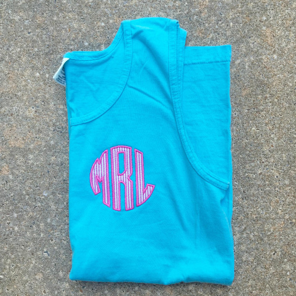 Monogrammed Seersucker Applique Bro Tank www.tinytulip.com Turquoise Tank with Hot Pink Seersucker and Hot Pink Thread