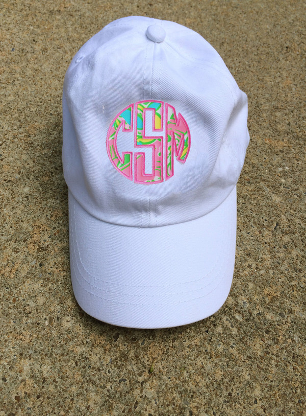 Monogrammed Lilly Pulitzer Applique Baseball Hat www.tinytulip.com White hat with Chin Chin Fabric and Preppy Pink Thread