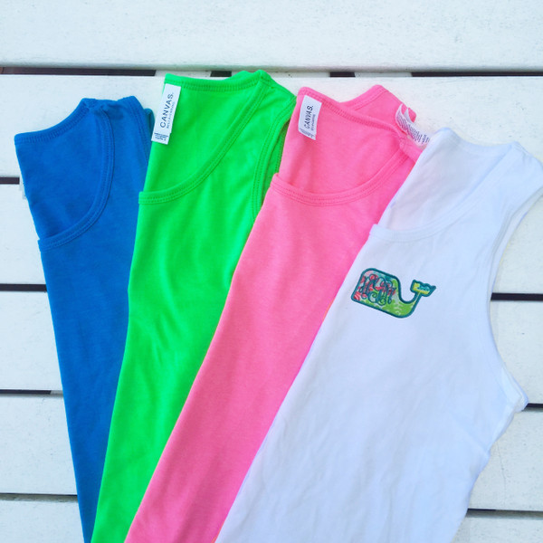 Monogrammed Youth Lilly Pulitzer Whale Bro Tank www.tinytulip.com White Tank Top with Checking in Blue and Turquoise Thread
