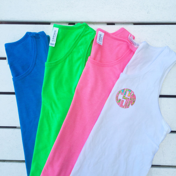Monogrammed Youth Lilly Pulitzer Bro Tank www.tinytulip.com White Tank with Chin Chin Fabric and Preppy Pink Font