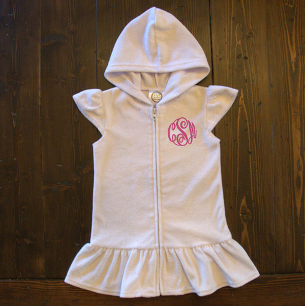 Monogrammed Girls Hooded Swim Cover Up www.tinytulip.com Preppy Pink Master Script
