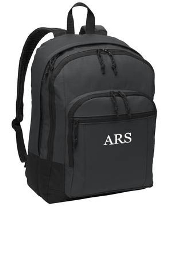 Charcoal Gray Solid Classic Monogrammed Backpack www.tinytulip.com White Mens Style Monogram