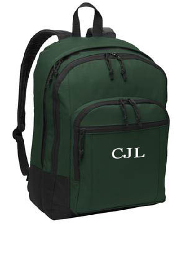 Forest Green Solid Classic Monogrammed Backpack www.tinytulip.com White Mens Style Monogram
