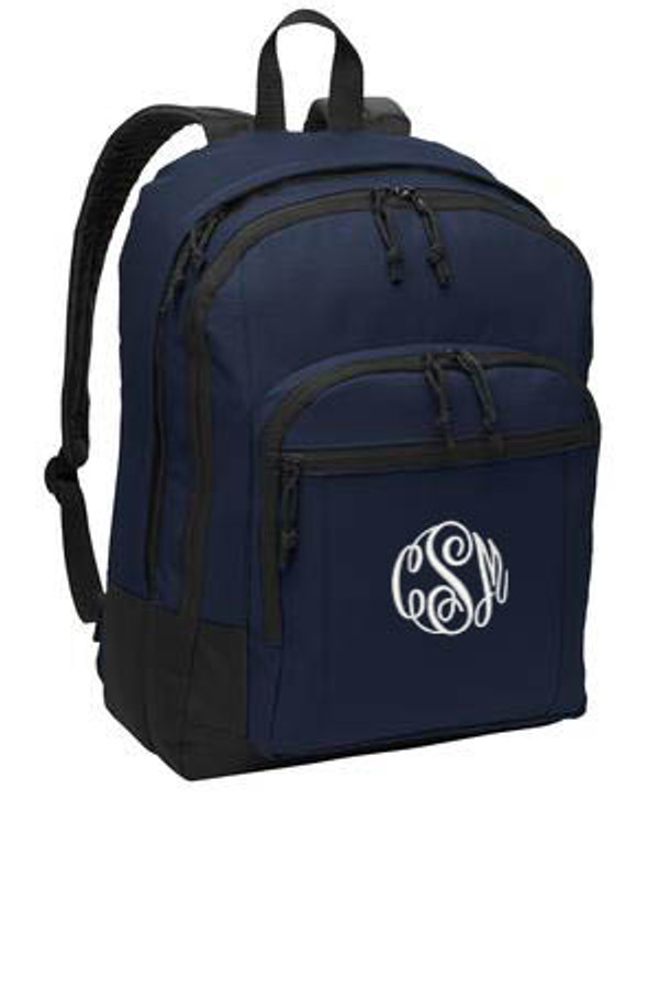Navy Solid Classic Monogrammed Backpack www.tinytulip.com White Ladies Style Monogram