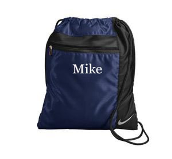 Monogrammed Nike Drawstring Backpack www.tinytulip.com Navy Backpack with White Mens Style Monogram
