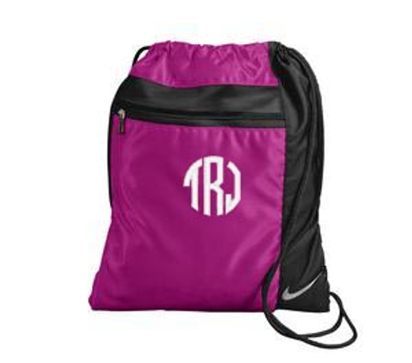 Monogrammed Nike Drawstring Backpack www.tinytulip.com Fusion Pink with White Circle Font