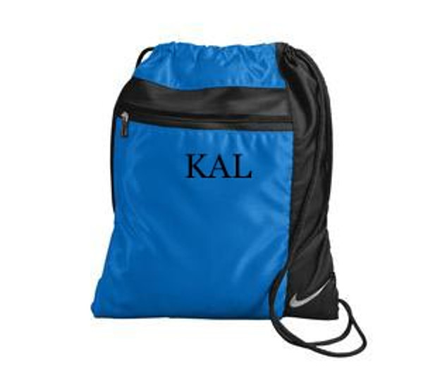 Monogrammed Nike Drawstring Backpack www.tinytulip.com Royal Blue with Black Mens Style