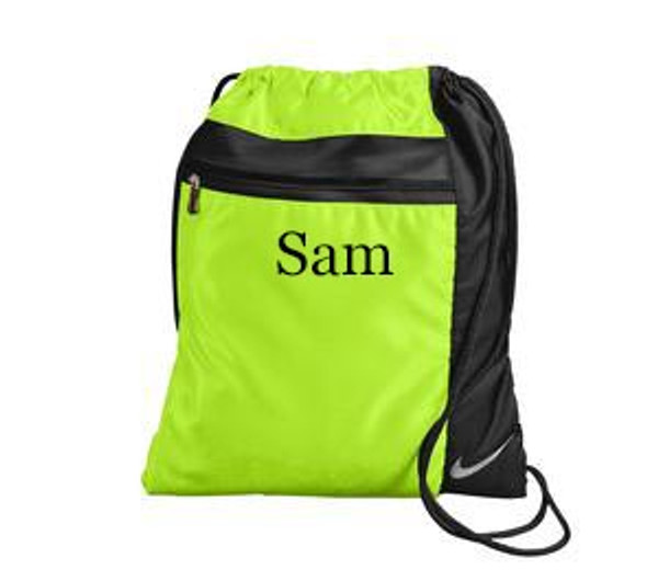 Monogrammed Nike Drawstring Backpack www.tinytulip.com Neon Volt with Black Thread