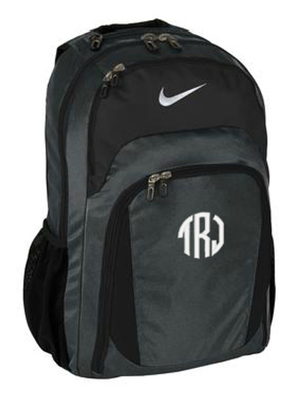 Monogrammed Nike Performance Backpack www.tinytulip.com Ladies Style Monogram with White Circle Font
